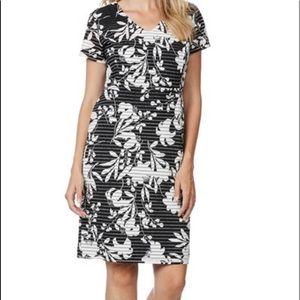 Liz Jordan Lucy Black White Floral Print Dress